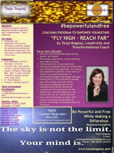 "NEW!! Online Coaching Program ""Fly High – Reach Far"" (Autumn 2018 group)"