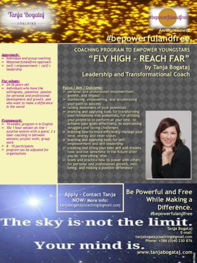 FlyHigh – ReachFar / Online program for empowerment and leadership / Open Enrollment / Starting end of January 2019 (more info available soon)