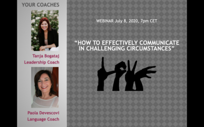 Free Webinar How to effectively communicate in challenging circumstances,  August 4, 3pm CET, zoom