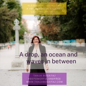 A drop, an ocean, and waves in between